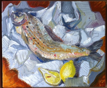 "grayling and newspaper, acrylic, 13.5"" x 12"", £285"