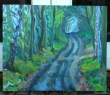 wooded path, oil
