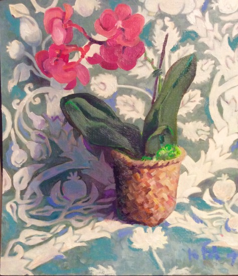 """orchid, 12""""x14"""", oil"""