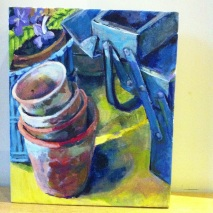 "Terracotta Pots, oil, 15.5"" x 14"", £"