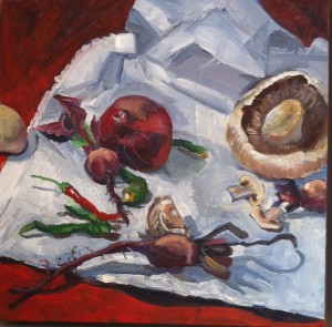 Red Vegetables, oil, £