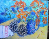 Dead Lilies with Rosie's Pine Cones from Spain, Oil, £425.00