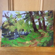 Downriver from the hut I, oil, unframed, £375