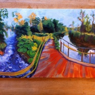 Weir on River Kennet II, oil, unframed, £450