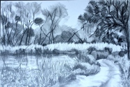 The river at Time wasters' corner. Drawing on board, £180, unframed