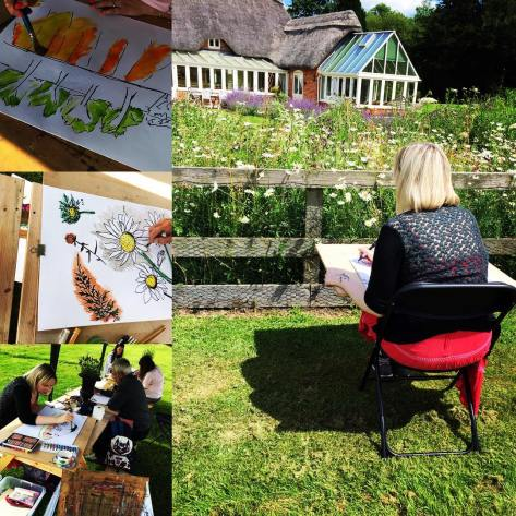 Art workshop @riverside_yurt_cafe #artclass #wherwellstudio #stockbridge #landscape #lavender #markerpens