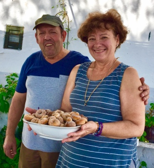 Marie V and Salvador who fed us on fresh vegetables from their garden and these dangerous little doughnuts