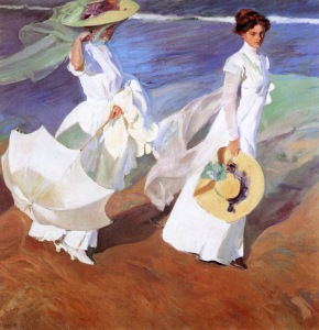 Joaquin-Sorolla-spanish-impressionist-Strolling along the Seashore 1909